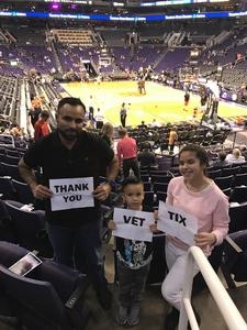 Jaime attended Phoenix Suns vs. Atlanta Hawks - NBA on Jan 2nd 2018 via VetTix