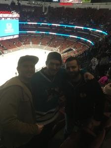 Kodi attended Anaheim Ducks vs. San Jose Sharks - NHL - Antis Roofing Community Corner! on Jan 21st 2018 via VetTix