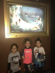 Lu attended Le Reve the Dream at the Wynn Theatre for Tonight on Jan 9th 2018 via VetTix