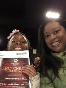 Rachael attended NTPA Repertory Theatre Presents: Disney's Hunchback of Notre Dame - Sunday on Feb 18th 2018 via VetTix