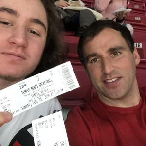 Jeff attended Temple University Owls vs. UCF - NCAA Men's Basketball on Feb 25th 2018 via VetTix
